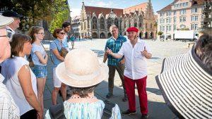 Mario Wenzel-Becker in Aktion Blick zum Altstadtmarkt (c) Braunschweiger Zeitung